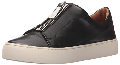(FRYE Women's Lena Zip Low Fashion Sneaker, Black Polished Soft Full Grain, 10 M)