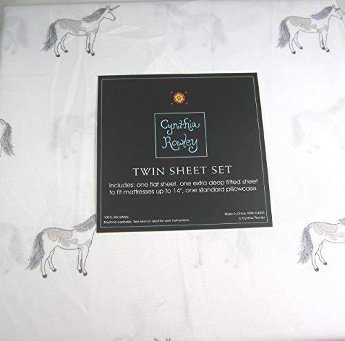 Cynthia Rowely 3 Piece Twin Sheet Set Unicorns 100% MIcrofiber Easy Care by Cynthia Rowely New York