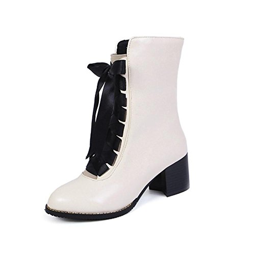 Tobillo Otoño Martín 5 Negro EUR Rough NVXIE 42 Cuero UK Mujeres EUR44UK10 Tamaño Heel Invierno Botas WHITE 8 Zapatos Redonda Cabeza qt4UnU5wXx