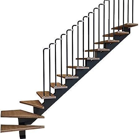 LHSUNTA Barandilla de Escalera Negra con Forma de 7, Cerca de barandilla de Tubo de Acero al Carbono Industrial para Viento Escalera Interior para el hogar, D Puede Personalizarse: Amazon.es: Hogar