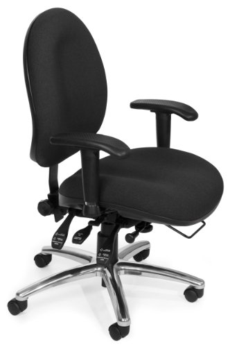 OFM 24 Hour Big and Tall Ergonomic Task Chair - Computer Desk Swivel Chair with Arms, Charcoal (247)]()