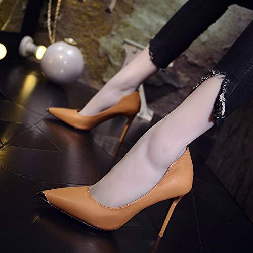 Yukun zapatos de tacón alto Zapatos De Charol con La Cabeza Acentuada Femenina con Hebilla Redonda Luz Salvaje con Un Pedal High Heels, 37, Nude Yellow