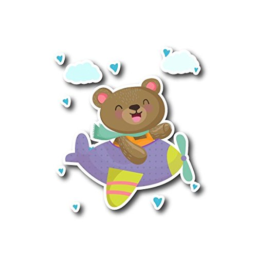#10783 Cute Bear With Plane Watercolor Decal Sticker for Laptop, Motorcycles, Windows, Car Bumper, Walls and More (4