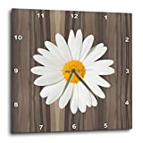 Cheap 3dRose DPP_181826_1 Wood Image with White Daisy Wall Clock, 10 by 10-Inch