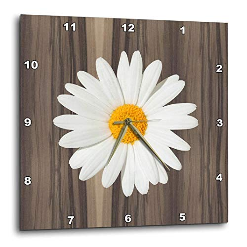 3dRose DPP_181826_1 Wood Image with White Daisy Wall Clock, 10 by 10-Inch