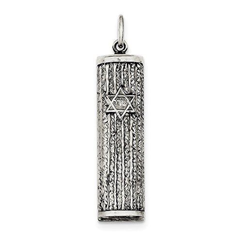Sterling Silver Satin Hollow Engravable Antique finish Antiqued Mezuzah - Mezuzah Antique