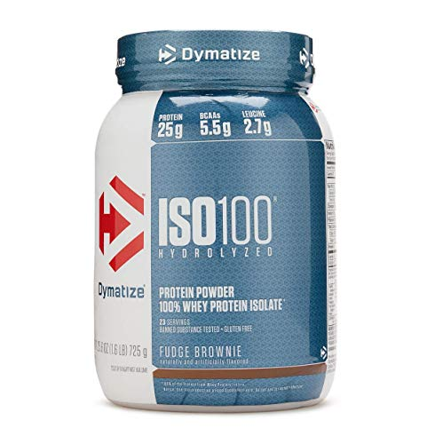 Dymatize ISO 100 Hydrolyzed Whey Protein Isolate, Fudge Brownie, 1.6lbs