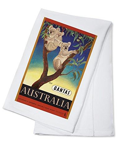Qantas - Australia Vintage Poster (artist: Mayo, Eileen) Australia c. 1953 (100% Cotton Kitchen Towel)