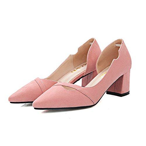 AalarDom Damen Nubukleder Mattglasbirne Rein Ziehen Auf Pumps Schuhe Pink-Ausgehöhlt