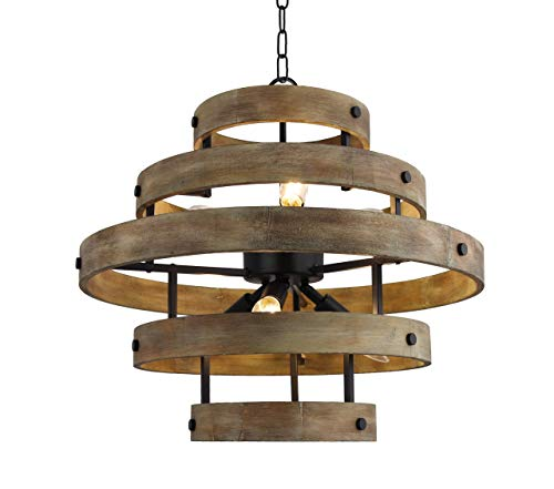 "22.5"" Vintage Rustic 5 Wood Rings Chandelier Pendant Light French Country Wood Metal Foyer (6 Light Heads) Rustic Iron Ceiling Light Fixture"