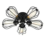 Electro_BP;Vintage Barn Metal Semi Flush Mount Light Max 300W With 5 Lights Black Finish