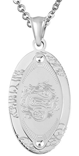 Aienid Stainless Steel Pendant Necklace for Men Vintage Dragon Oval Dog Tag Silver - Tag Dog Pendant Oval