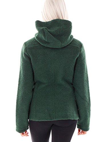 CMP Jacke Wolljacke Kapuzenjacke grün wärmend Taschen Materialmix Gr.38 3M32766