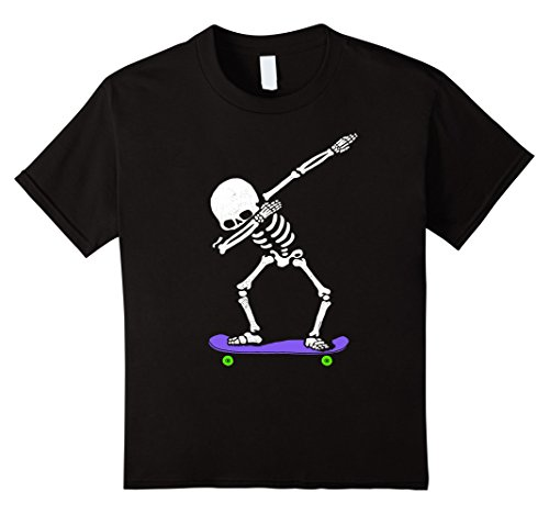 Kids Halloween Dabbing Skeleton SKATEBOARD T-Shirt Dab Skater Tee 8 -