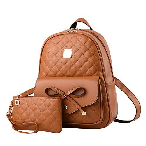 I IHAYNER Girls Bowknot 2-PCS Fashion Backpack Cute Mini Leather Backpack Purse for Women Brown