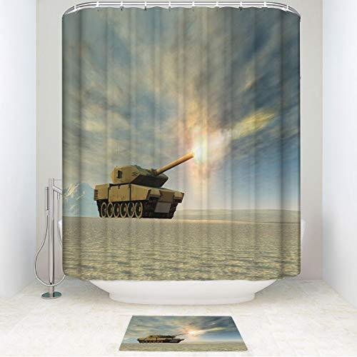 Battle Firing Tank (HooMore Family Bathroom Set, Battle Tank Firing,1 moldproof Waterproof Shower Curtain and Non-Slip Bathroom Rug 54WX78Lin/15.7X23.6in)