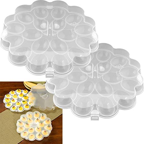 MISC Clear Deviled Egg Tray with Lid Food Platter Set of 2 Round Serving Platters Carrier Dish White, Polypropylene