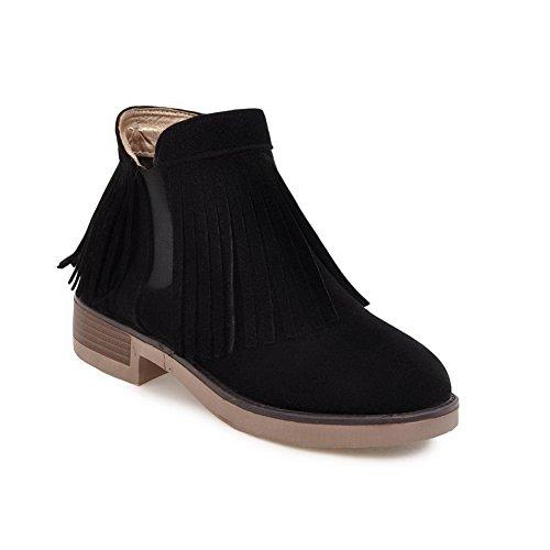 BalaMasa Womens Fashion Platform Tassels Suede Boots ABL09948 Black