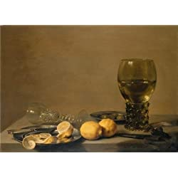 The High Quality Polyster Canvas Of Oil Painting 'Pieter Claesz-Still Life With Two Lemons,a Facon De Venise Glass,Roemer,Knife And Olives On A Table,1629' ,size: 16x22 Inch / 41x57 Cm ,this Cheap But High Quality Art Decorative Art Decorative Prints On