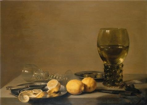 (Perfect Effect Canvas ,the Replica Art DecorativeCanvas Prints Of Oil Painting 'Pieter Claesz-Still Life With Two Lemons,a Facon De Venise Glass,Roemer,Knife And Olives On A Table,1629', 30x42 Inch / 76x107 Cm Is Best For Gym Decor And Home Gallery Art And Gifts)