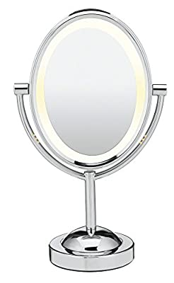 Conair Oval Shaped Double-Sided Lighted Makeup Mirror, 1x/7x magnification
