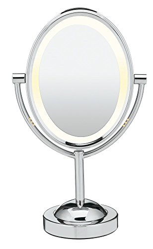 Conair Reflections Double-Sided Lighted Vanity Makeup Mirror, 1x 7x magnification, Polished Chrome
