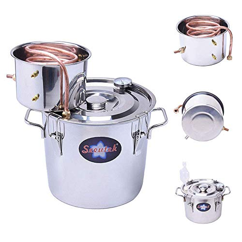 Seeutek 3 Gallon 12L Copper Tube Moonshine Still Spirits Water Alcohol Distiller Home Brew Wine Making Kit Oil Boiler, 3Gal, Silver
