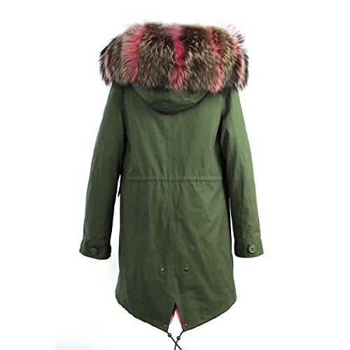 Multicolore Rose et Manteau Femmes chaud S longues ROMZA chapeau amp; Vert chaud avec parka manches BROq6wO
