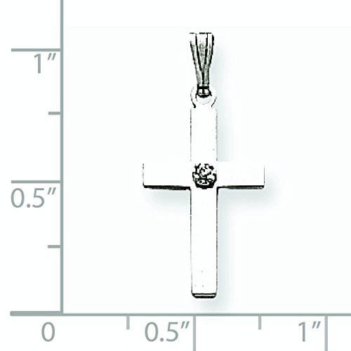 Or blanc 14 carats Diamant brut .01ct. Pendentif croix-Dimensions :  18 x 11 mm-JewelryWeb