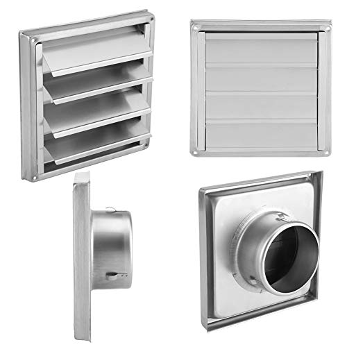 Maxmartt 100mm Vent Cover Stainless Steel Outdoor Dryer Wall Air Vent Filter Square Tumble Extractor Fan Outlet Square Louver Exhaust Fan
