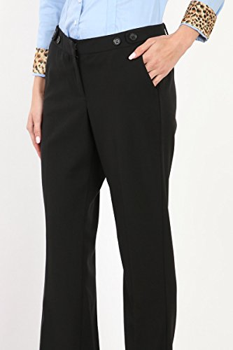 Maryclan Career Women's Dress Pants Little Boot Cut With Double Button Tab Detail (Large, Black) by Maryclan (Image #5)