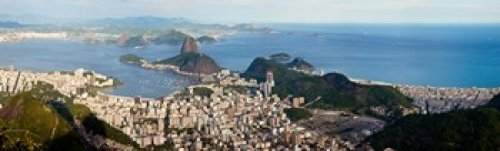Posterazzi High angle view of the city with Sugarloaf Mountain in background Guanabara Bay Rio De Janeiro Brazil Poster Print (38 x 12)