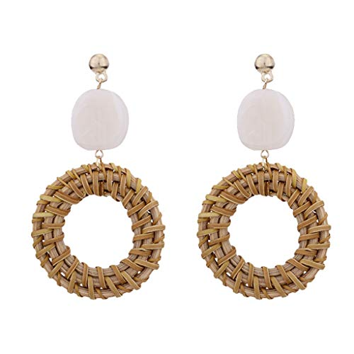 (Woven Rattan Earrings Handmade Boho Style Rattan Earrings Straw Geometric Round Ladies Jewelry (Coffee))