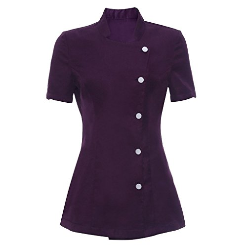 Prettyia Salon Spa Beauty Beautician Hairdressers Nails Uniform Tunic - Purple, ()