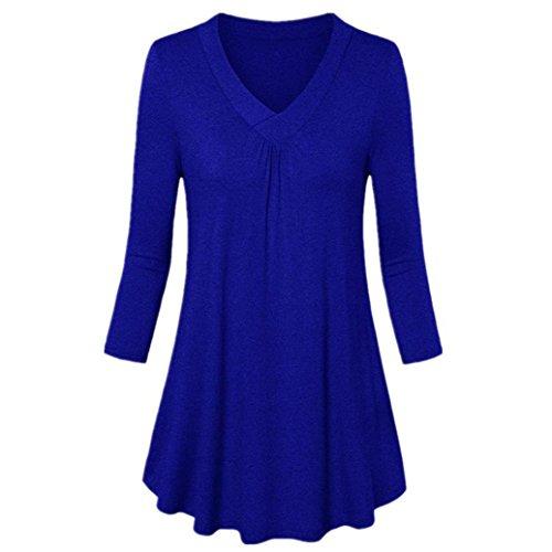 Pullover Bleu Cher Pas Sport QinMM Printemps S Longues T lgant V XXXXXL Shirt Taille Chemisier Casual Manches Mode Automn Grande Chic Tops Col Haut Blouse Femmes q04BY
