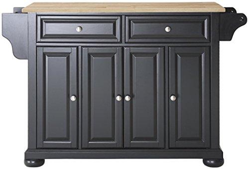 Crosley Furniture Alexandria Kitchen Island with Natural Wood Top - Black (Nj Bar Furniture)