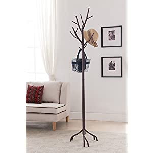 Kings Brand Bronze – Finish Metal Hall Tree Coat & Hat Rack with Branches