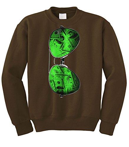 Cybertela Cash Money Shades Sunglass Crewneck Sweatshirt (Brown, - Chris Shades Brown