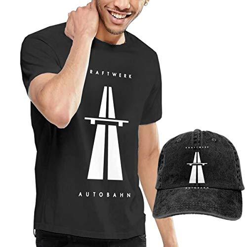 GabrielR Men's Kraftwerk Autobahn T Shirt and Washed Denim Baseball Dad Hat Black XL