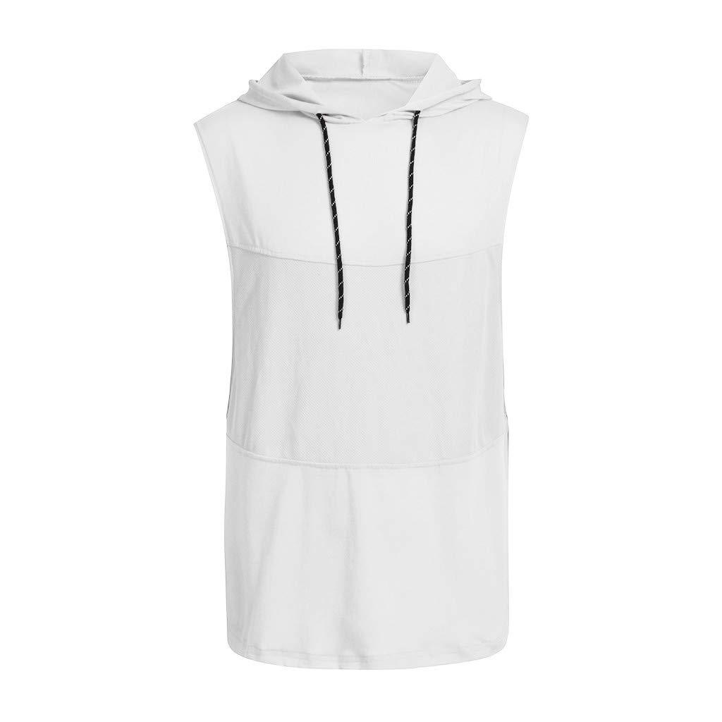 M, Black Mens Gyms Fitness Hoodie Vest,Ankola Mens Workout Hooded Tank Tops Sleeveless Gym Hoodies