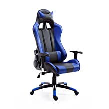 HOMCOM 360° Swivel Executive Gaming Racing Office Chair with Waist Neck Cushions (Blue/Black)