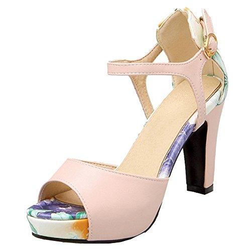 COOLCEPT Mujer Clasico Tacon Ancho Alto Peep Toe Ankle Strap Multicolor Sandalias Rosado