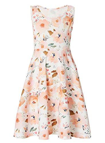 Leapparel Floral Dress for Girls Teenage Flower Print Sleeveless Casusl Dresses m