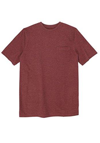 Ride Heavyweight T-shirt - Boulder Creek Men's Big & Tall Longer-Length Pocket Crewneck Tee, Heather Rich