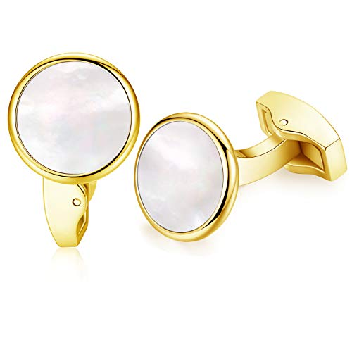 - HONEY BEAR White Pearl Shell Black Onyx Cufflinks Round for Mens Gift Gold with White Shell