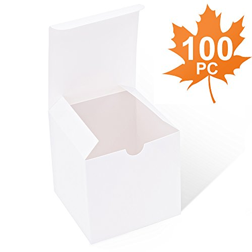 MESHA White Boxes 100 Pack 4 x 4 x 4 Inches, White Cardboard Gift Boxes with Lids for Gifts, Crafting, Cupcake Boxes