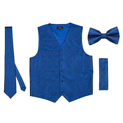 Vittorino Men 's 4 Piece Formal Paisley Vest Set With Tuxedo Vest Tie Hankerchief Bow Tie,Royal,Medium by Vittorino