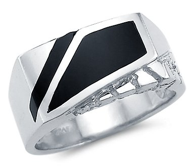 Size- 10 - New Solid 14k White Gold Heavy Mens Nugget Onyx Ring