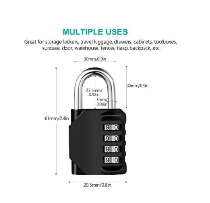 Padlock - 4 Digit Combination Lock for Gym, Sports,Fence, Hasp and Storage - All Weather Metal & Steel - Easy to Set Your Own Keyless Resettable Combo