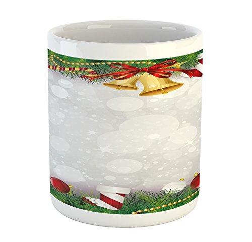 Ambesonne Christmas Mug, Xmas Eve Carol Theme Frame Pine Spi